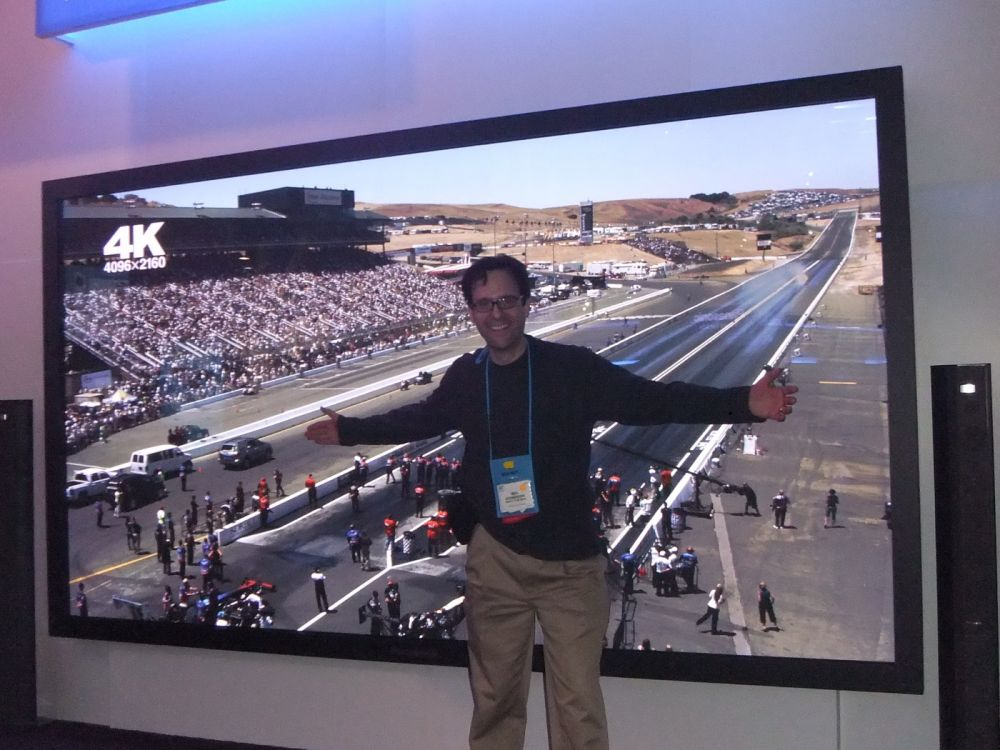 "Neil Schneider with Panasonic 150"" 3D HDTV"
