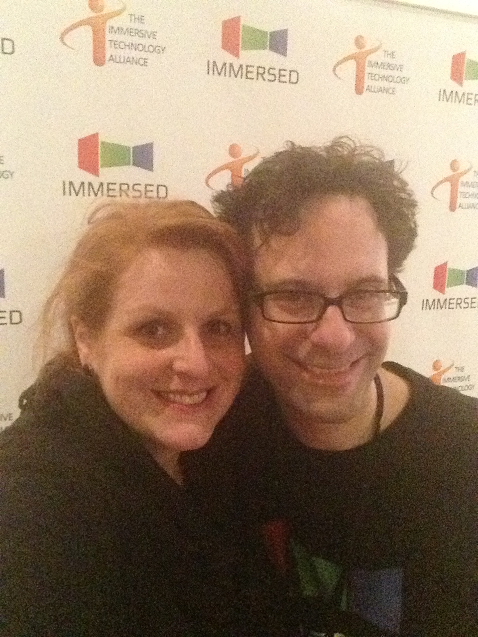 Pam Swartz and Neil Schneider getting ready for Immersed!