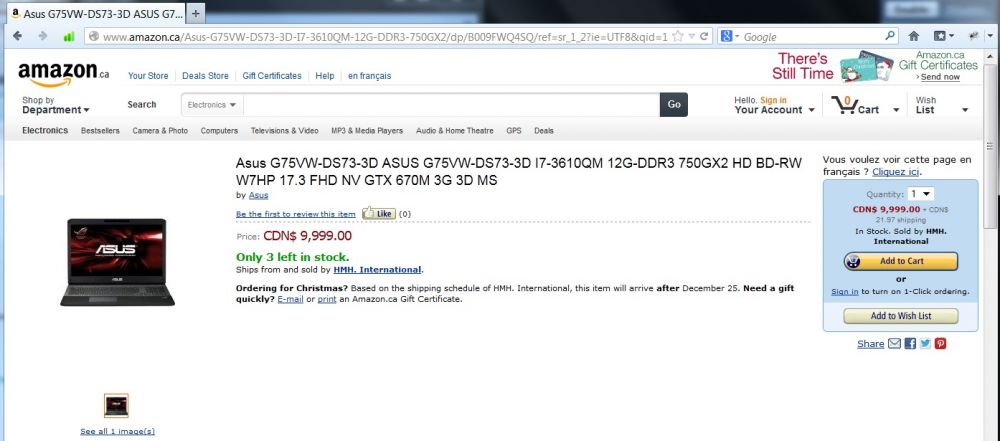 Asus G75VW-DS73-3D Laptop...$9,999.99 on Amazon.ca!