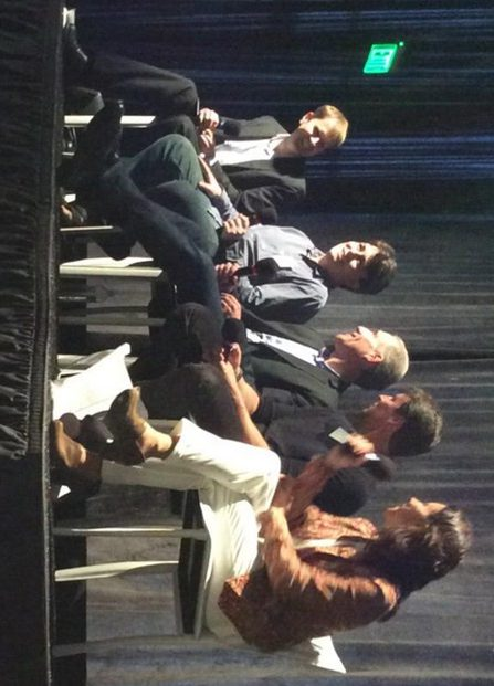 NeoruGaming VR Panel. Left to right:Jason Jerald—Cofounder of NextGen Interactions, Palmer Luckey—Cofounder of Oculus VR, Amir Rubin—CEO of Sixense Entertainment, Richard Marks—Director of the Sony Playstation Magic Lab, and Ana Maiques—CEO of Neuroelect