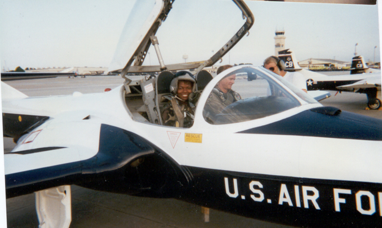 Mary Spio in a T37 Jet