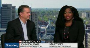 Next Galaxy Corp's Mary Spio and University of Kentucky's Coach John Calipari
