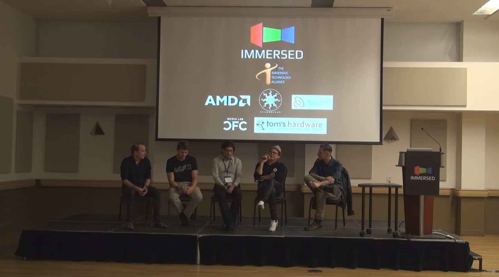 L-R: Guillaume Gouraud (Starbreeze Studios), Dr. Richard Marks (Sony Computer Entertainment), Dario Laverde (HTC), Ben Miller (WEVR), Lucas Cochran (Discovery Channel's Daily Planet)
