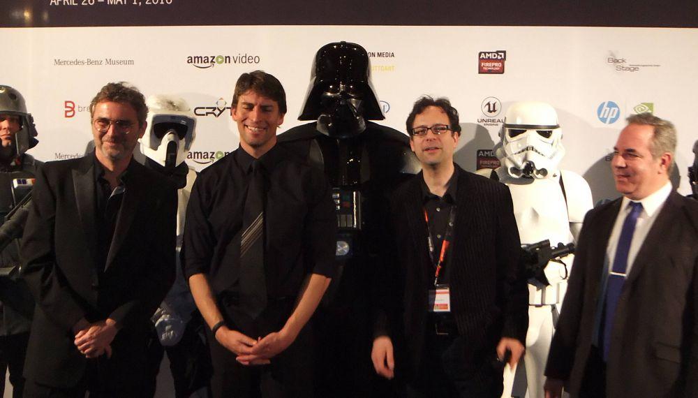 L-R: Jean-Michele Blottiere (FMX), Richard Marks (Sony PlayStation Magic Lab), Neil Schneider (The Immersive Technology Alliance)