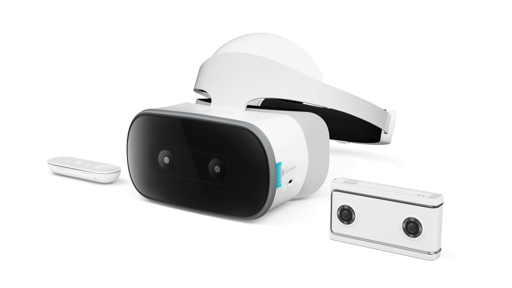 Lenovo Solo HMD, controller, and Lenovo Mirage camera.