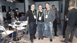 L-R: Kevin Henderson from Pimax, Neil Schneider and Kris Roberts from MTBS