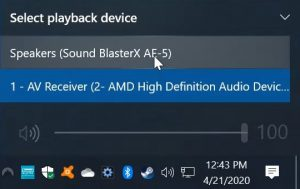 Sound Blaster Speakers Selected